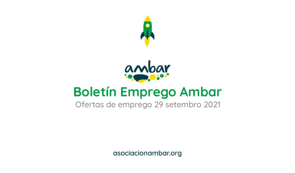 Boletín de emprego Ambar das ofertas de emprego da barbanza do 29 de setembro de 2021